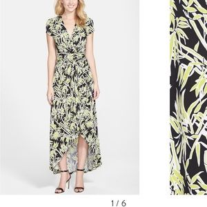 High-low bamboo print Michael Kors maxi dress